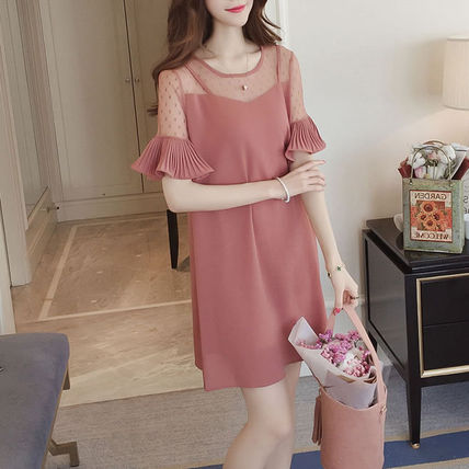 Dots Street Style Medium Short Sleeves Party Dresses