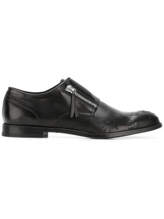 Skull monk strap shoes