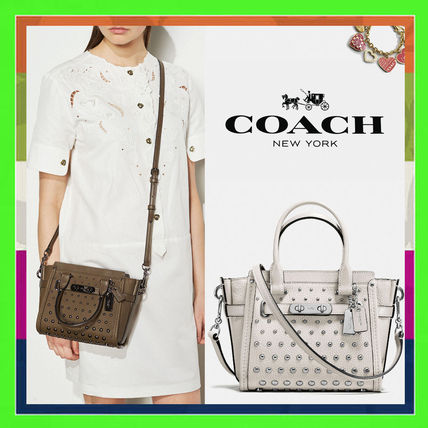 Studded 2WAY Plain Leather Party Style Handbags
