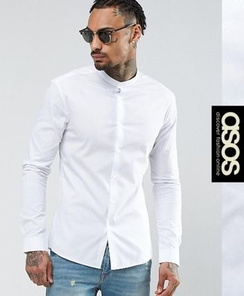 ASOS Long Sleeves Plain Band-collar Shirts Shirts