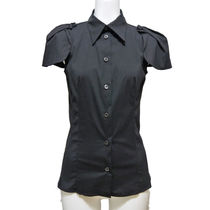 PRADA Plain Cotton Medium Short Sleeves Office Style