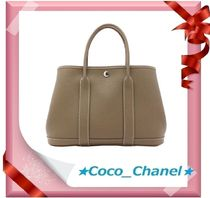 HERMES Garden Party Casual Style 2WAY Plain Leather Handbags