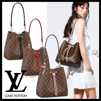 Louis Vuitton MONOGRAM Monoglam 2WAY Leather Purses Fringes Office Style