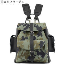 GRAFEA Camouflage Casual Style 2WAY Plain Leather Backpacks