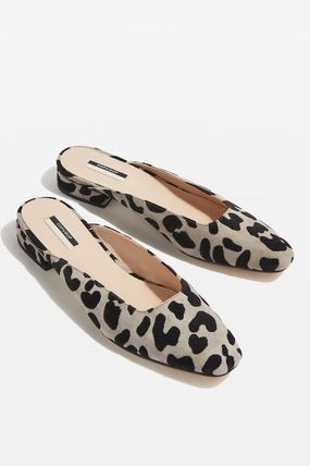 TOPSHOP Leopard Patterns Square Toe Casual Style Street Style