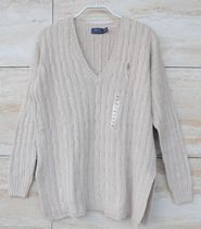 Ralph Lauren Cable Knit Casual Style V-Neck Long Sleeves Plain Cotton