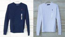 Ralph Lauren Cable Knit Plain Cotton Knitwear