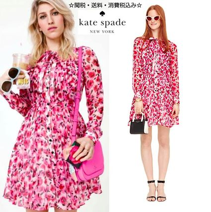 kate spade new york Short Flower Patterns Silk Long Sleeves Party Style