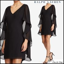 Ralph Lauren Short Tight Sleeveless V-Neck Plain Party Dresses