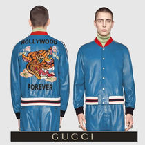 GUCCI Short Street Style Plain Other Animal Patterns Leather MA-1