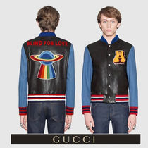 GUCCI Short Stripes Street Style Plain Leather MA-1 Biker Jackets