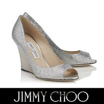 Jimmy Choo Open Toe Plain Leather Elegant Style Peep Toe Pumps & Mules