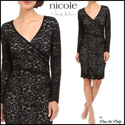 Nicole Miller Tight V Neck Long Sleeves Plain Medium Lace Party Dresses