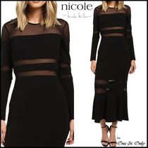 Nicole Miller Flared Long Sleeves Plain Long Party Dresses