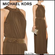 Michael Kors Maxi Sleeveless Halter Neck Plain Long Party Dresses