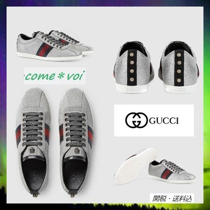 Studded heel features GUCCI glitter Web sneakers