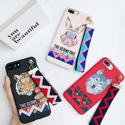 Men ' s animal pattern iPhone case with studded strap