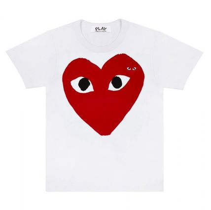Heart Unisex Street Style U-Neck Plain Cotton Short Sleeves
