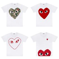 COMME des GARCONS Heart Unisex Street Style U-Neck Plain Cotton Short Sleeves