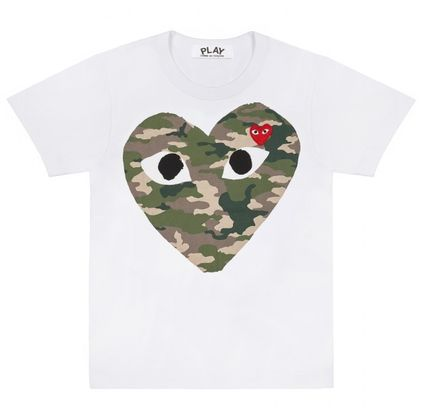 COMME des GARCONS More T-Shirts Heart Unisex Street Style U-Neck Plain Cotton Short Sleeves 4