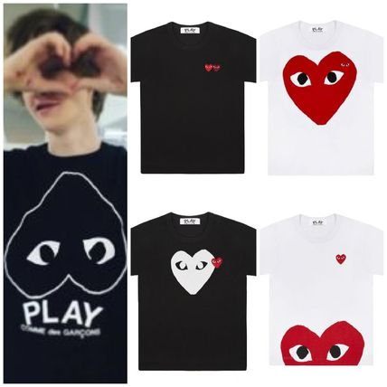 COMME des GARCONS More T-Shirts Heart Unisex Street Style U-Neck Plain Cotton Short Sleeves