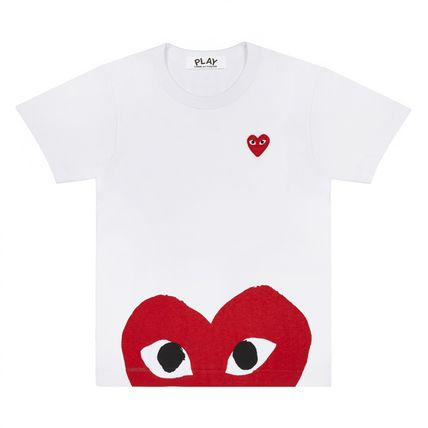 COMME des GARCONS More T-Shirts Heart Unisex Street Style U-Neck Plain Cotton Short Sleeves 3