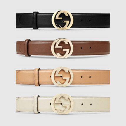 GUCCI Plain Leather Elegant Style Belts