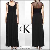 Calvin Klein Flared Plain Long Puff Sleeves Party Dresses