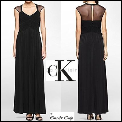 Calvin Klein Puffed Sleeves Flared Plain Long Party Dresses