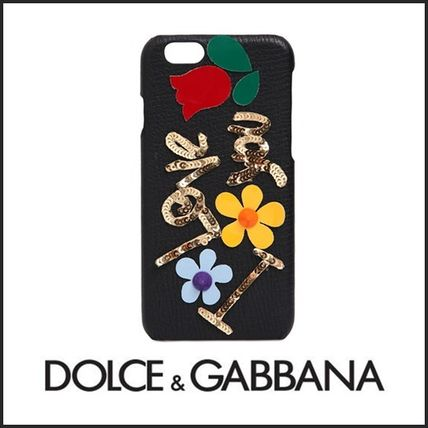 Dolce & Gabbana Flower Patterns Plain Leather Smart Phone Cases