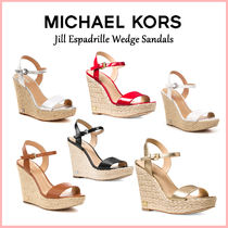 Michael Kors Open Toe Casual Style Plain Leather Platform & Wedge Sandals