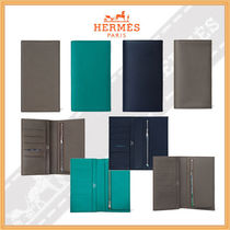 HERMES Calfskin Street Style Plain Long Wallets