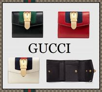 GUCCI Sylvie Blended Fabrics Plain Leather Folding Wallets