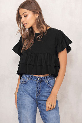 Short Plain Puff Sleeves Cropped