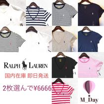 Ralph Lauren Stripes Casual Style V-Neck Plain Cotton Short Sleeves