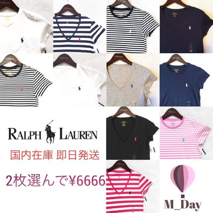 Stripes Casual Style V-Neck Plain Cotton Short Sleeves