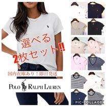 Ralph Lauren Crew Neck Stripes V-Neck Plain Cotton Short Sleeves T-Shirts