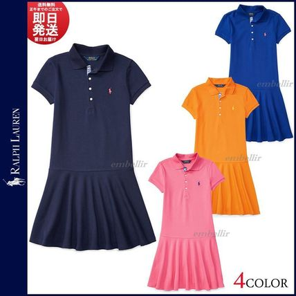 Short Casual Style Flared Plain Cotton Short Sleeves Dresses