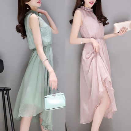 High neck sleeveless dress chiffon