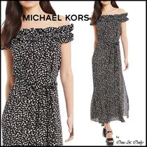 Michael Kors Flower Patterns Flared Long Party Dresses