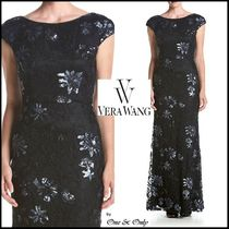 Vera Wang Flower Patterns Maxi Puffed Sleeves Boat Neck Long Lace