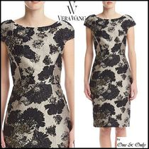 Vera Wang Flower Patterns Tight Puffed Sleeves Boat Neck Medium