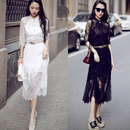 Total lace elbow-length 7-sleeve shirt party dress