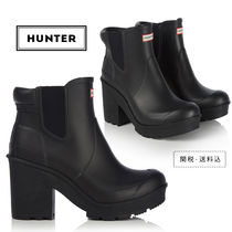 HUNTER Round Toe Casual Style Plain Block Heels Chelsea Boots