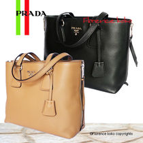 PRADA Vitello Phenix SIde Zipper Tote Bag (Black/Caramel/Argilla)