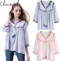 Chicwish Stripes Tassel Cropped Cotton Shirts & Blouses