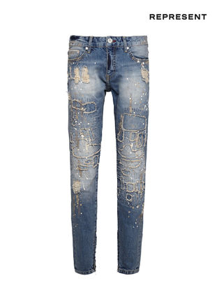 Street Style Plain Cotton Jeans & Denim