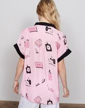 LAZY OAF Heart Tropical Patterns Street Style Medium Short Sleeves