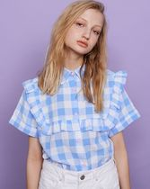 LAZY OAF Gingham Street Style Cotton Medium Short Sleeves Party Style