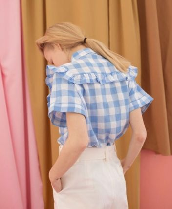 Gingham Street Style Cotton Medium Short Sleeves Party Style